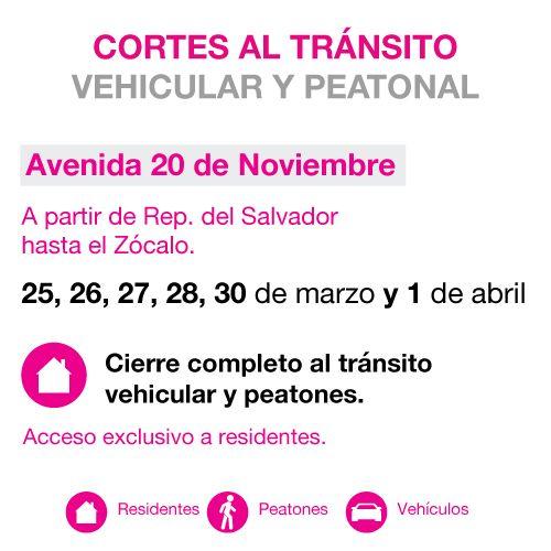 Cortes viales en el perimetro Zócalo. Av. 20 de noviembre.