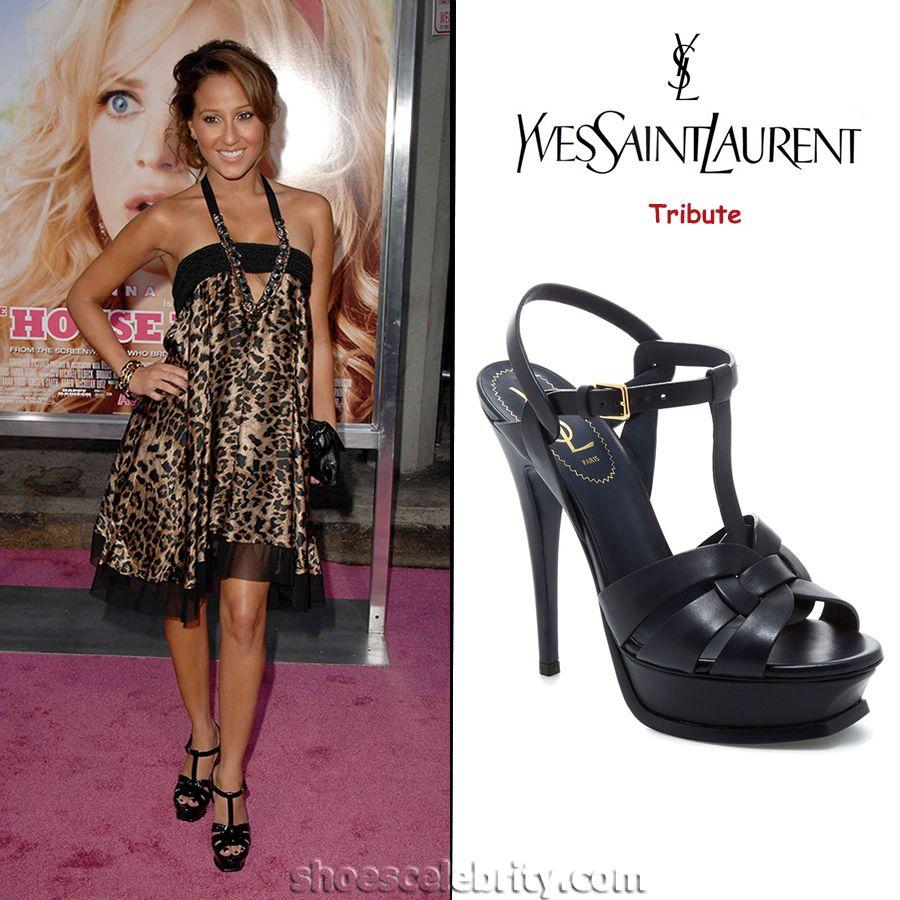 cd34ac268f8 Adrienne Bailon in Yves Saint Laurent Tribute Platform Sandals ...