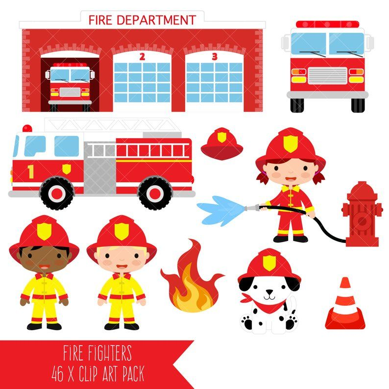 Firefighter Clipart Fire Fighter Fireman Fire Engine Etsy Firefighter Clipart Firefighter Fireman