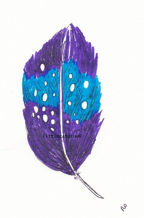 Purple Blue Feather  Art Print of Drawing art by littlecatdraw, $4.50
