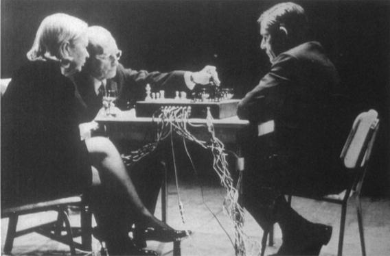 John Cage, Marcel Duchamp and Teeny Duchamp    Reunion    Ryerson Theatre in Toronto, Canada    5 March 1968    Photo by Shigeko Kubota