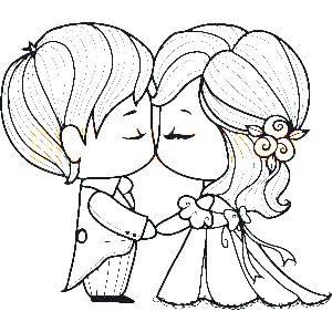 Novios recien casados  Pinta y colorea  Pinterest  Novios
