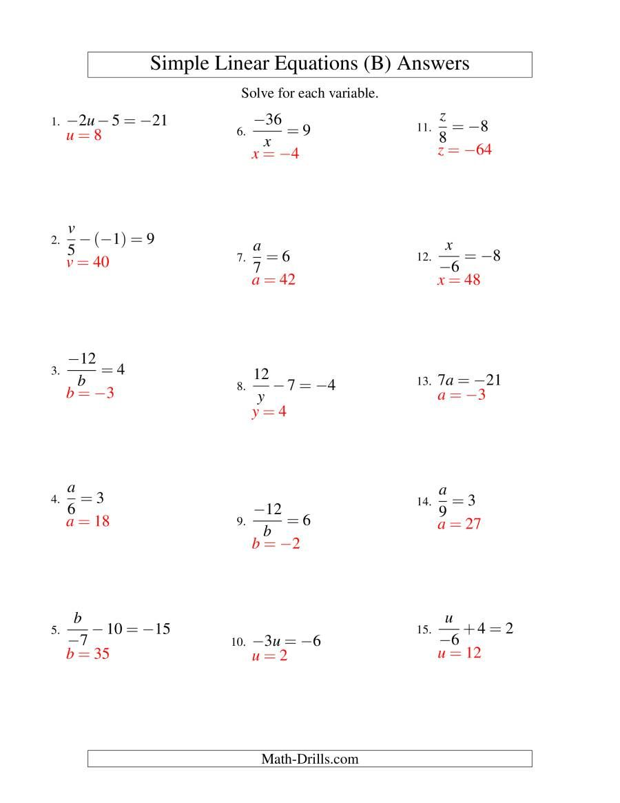 The Solving Linear Equations Including Negative Values Form Ax B C Variations B Math Worksheet P In 2020 Solving Linear Equations Equations Linear Equations