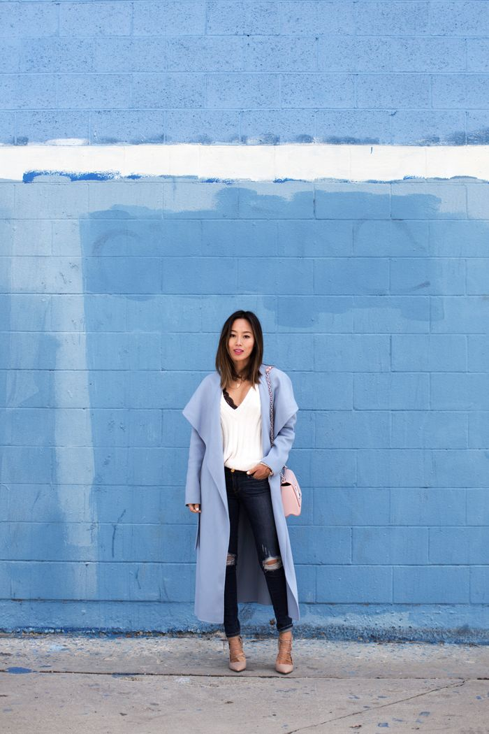 a0180c51bb7 Blue Coat and Ripped Skinny Jeans | style inspiration | Song of ...
