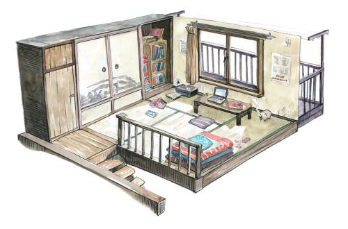 cutaway view of Japanese style simple home