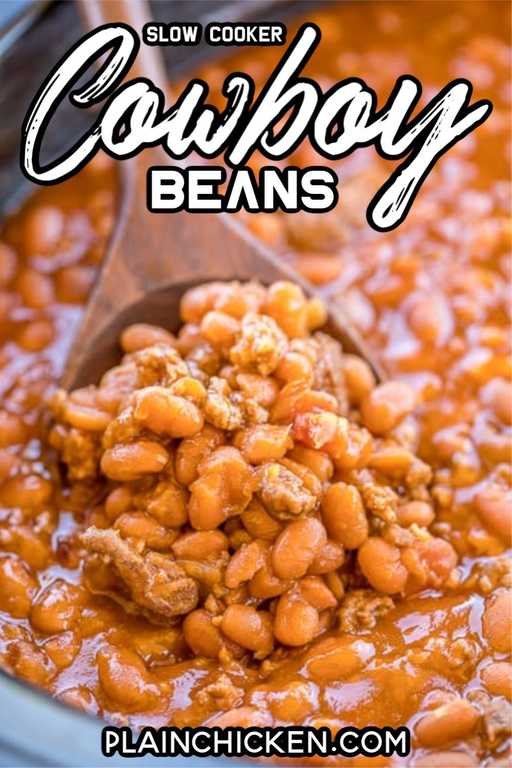 Slow Cooker Cowboy Beans Seriously The Best Baked Beans I Ve Ever Eaten Loaded With Beef And Bacon So Ea In 2020 Cowboy Beans Baked Bean Recipes Best Baked Beans