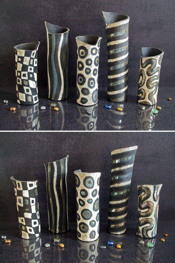 Raku Pottery Black And White Cylinder Vases Set Ceramic Etsy In 2020 Raku Pottery Raku Ceramics White Ceramic Vases