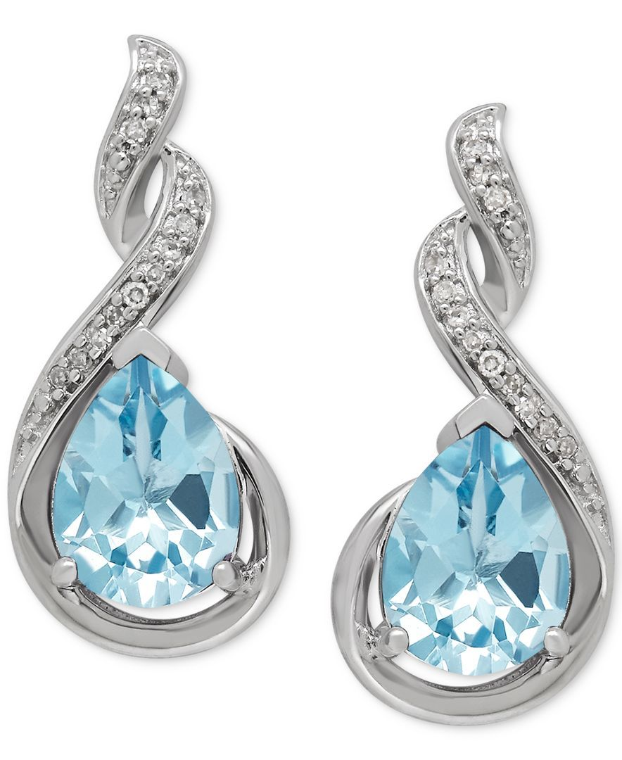 Aquamarine (1-7/8 ct. t.w.) and Diamond Accent Drop Earrings in Sterling Silver