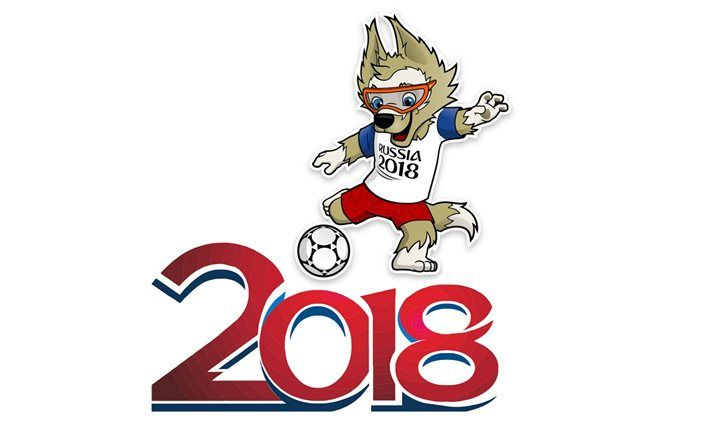Download Wallpapers Soccer Fifa World Cup Logo Russia 2018 Wolf Footballer Symbol World Cup 2018 World Cup World Cup Logo Russia World Cup