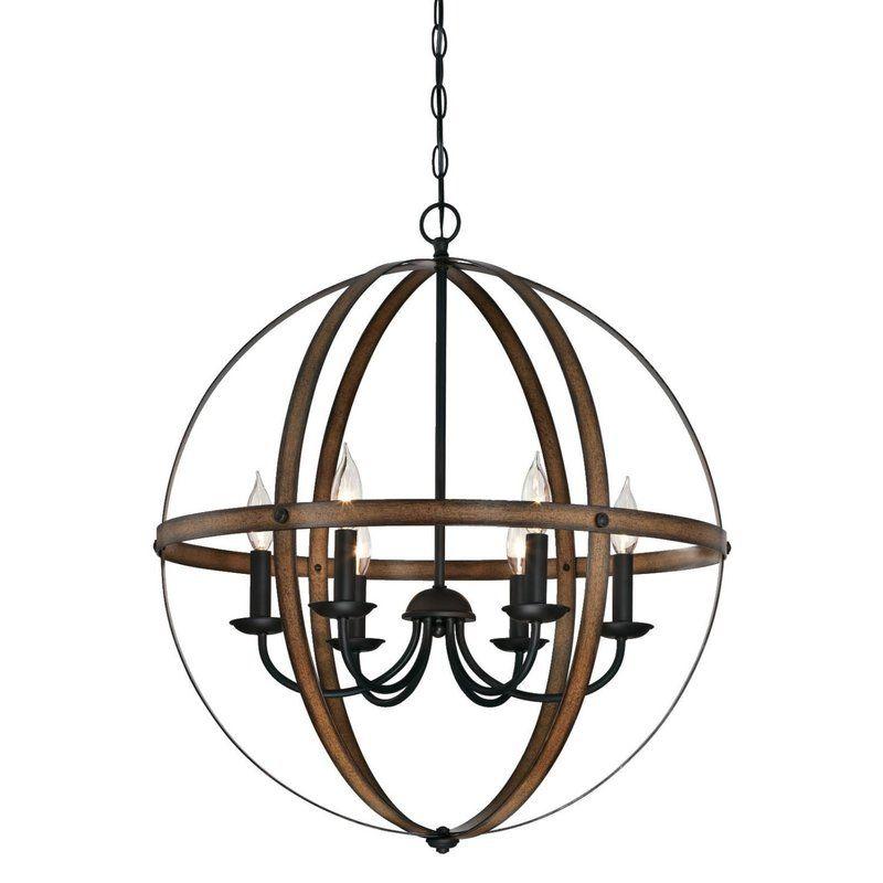 Joon 6 Light Candle Style Globe Chandelier Bronze Chandelier Globe Chandelier Farmhouse Chandelier