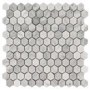 Bianco Carrara Polished Hexagon Marble Mosaic for guest bath floor