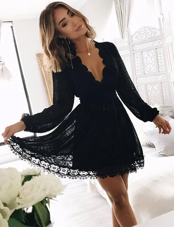 Photo of A Line Deep V Neck Long Sleeves Little Black Lace Homecoming Dress