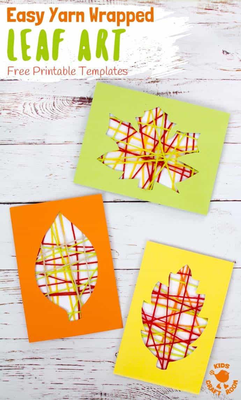 Autumn Yarn Wrapped Leaf Craft #leafcrafts