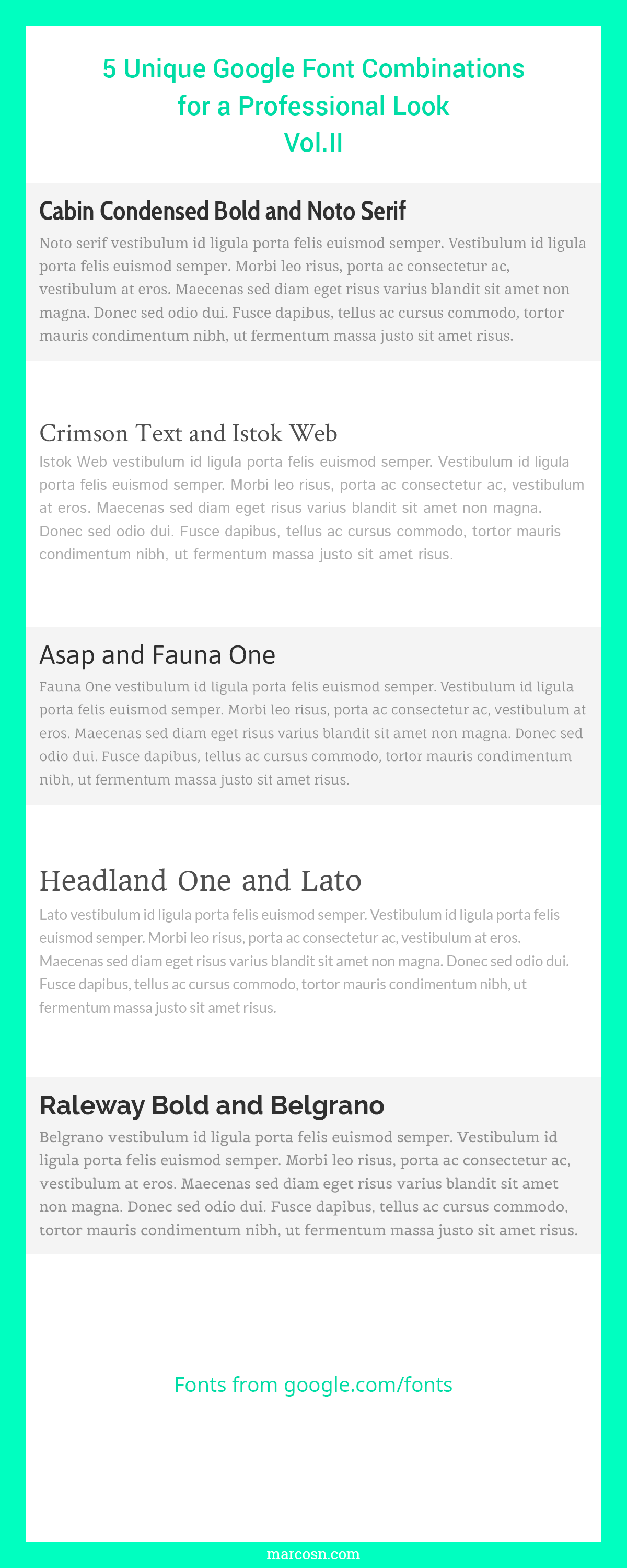 Another 5 Unique Google Font Combinations For a Professional Look