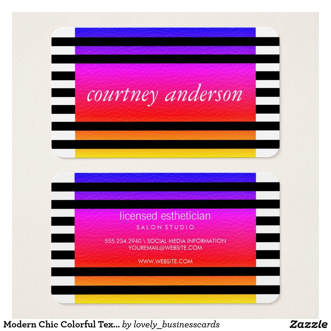 Modern Chic Colorful Texture Black Stripes Business Card #businesscards #freelancemakeupartist #makeupartist #stylishcorporate #mod #luxe #stylish #fashionblogger #eyecatching #colorful #bold #freelanceartist #stripes #lines #classicbusinesscards #chic #contemporary