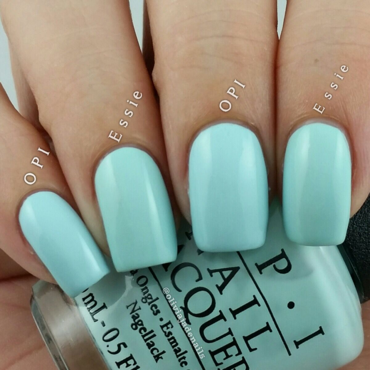 OPI Gelato On My Mind vs Essie Mint Candy Apple swatched by Olivia ...