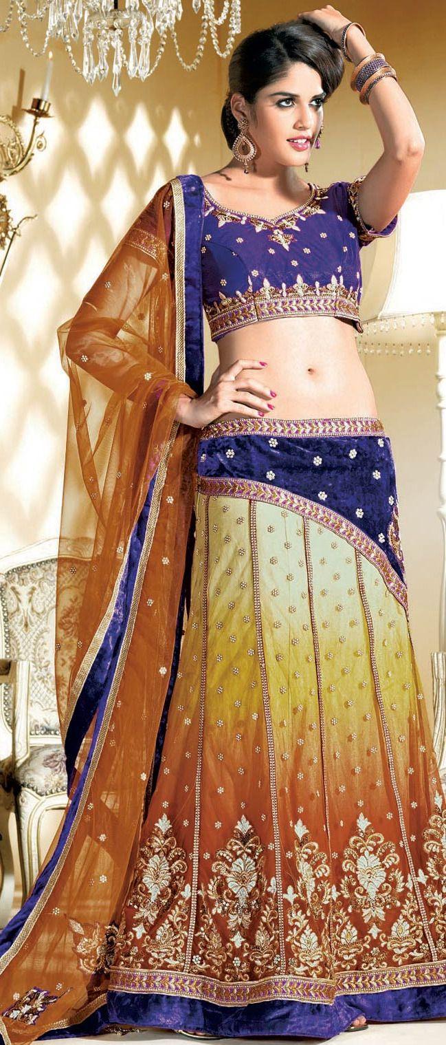 Dark Blue And Orange Net Flared Lehenga Choli With Dupatta 221 19 Shop Http Www Utsavfas Indian Dresses Online Designer Lehenga Choli Indian Dresses