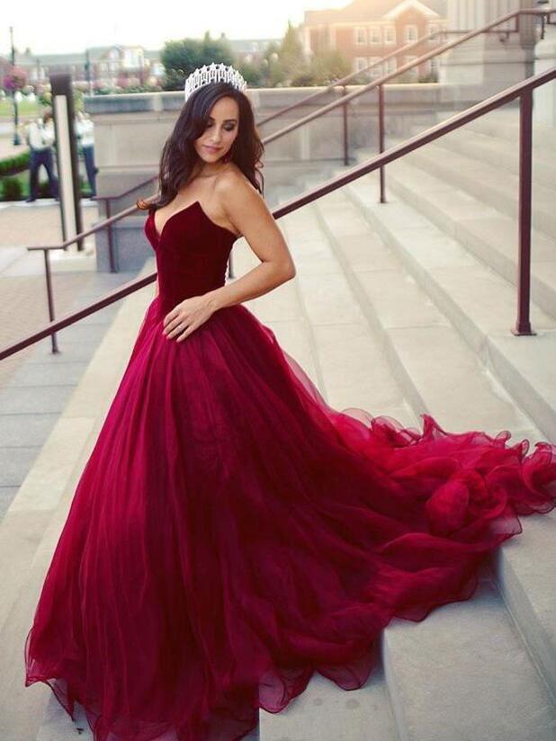 e8f197c5f1c75 Strapless Burgundy Prom Dresses Cheap Plus Size Maroon Quinceanera Dresses  APD3455