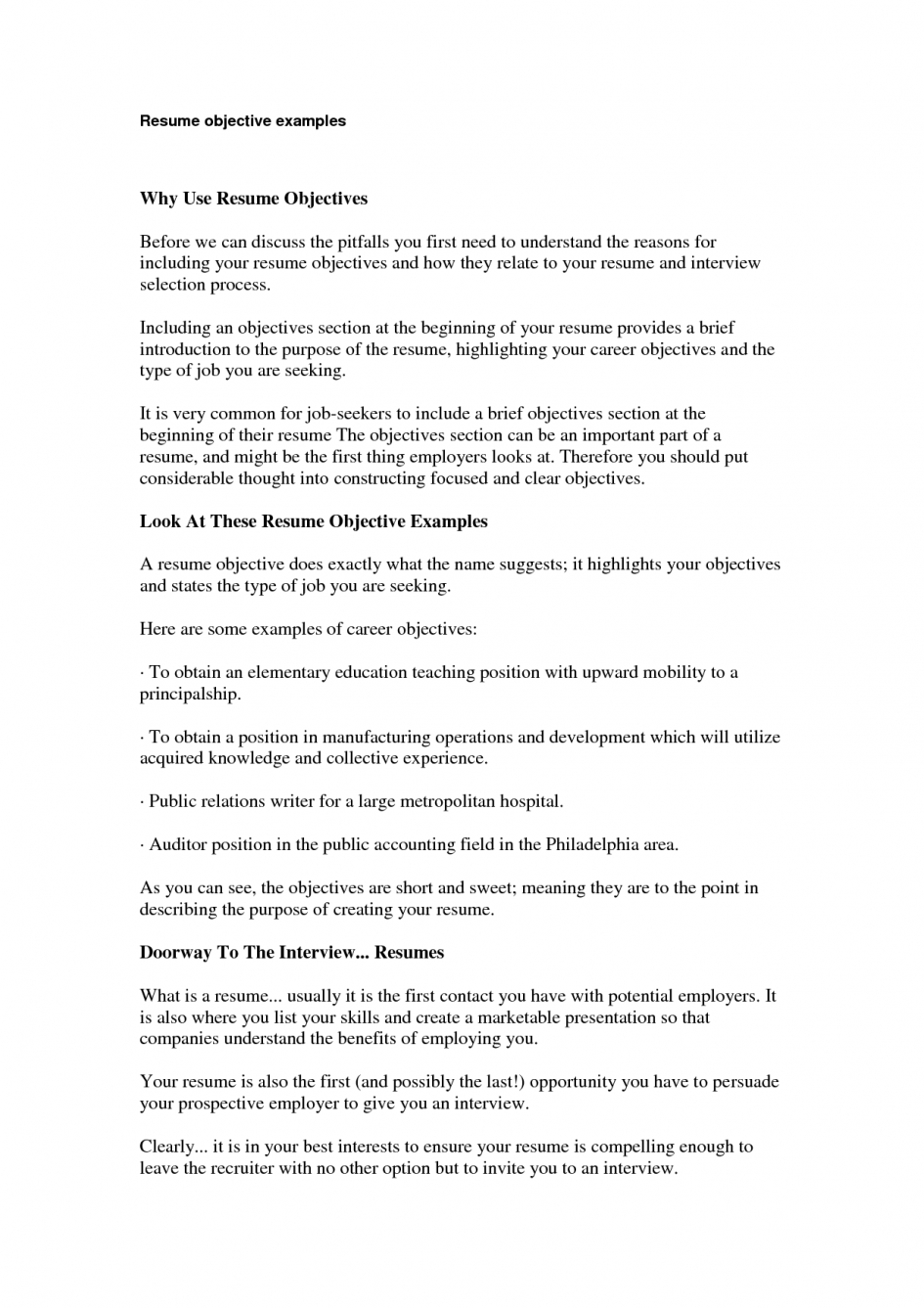 saleslady resume objectives for basic objective examples career resumes sample - Basic Resume Objective Examples