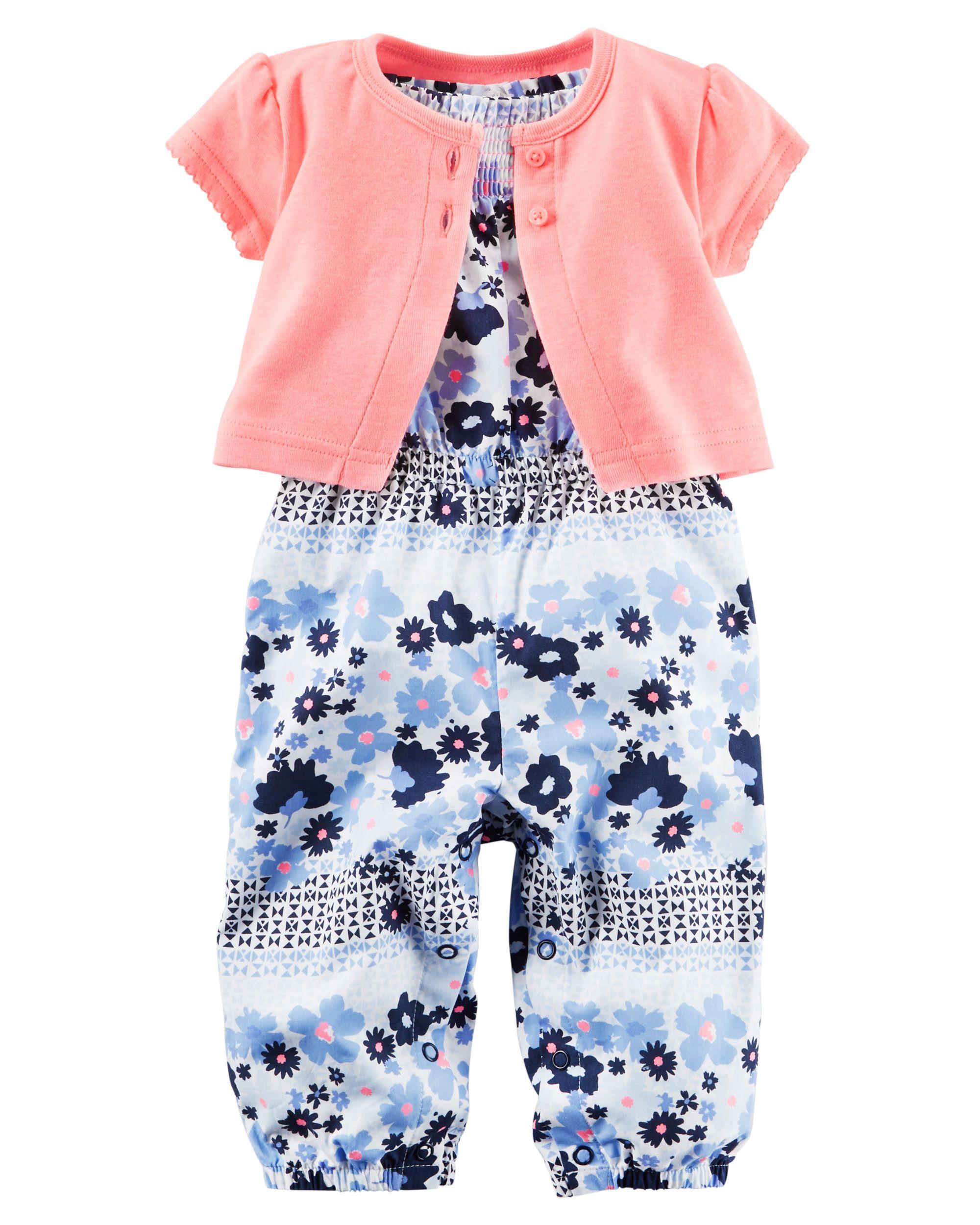 Baby Girl 2-Piece Jumpsuit & Neon Cardigan Set | Carters.com