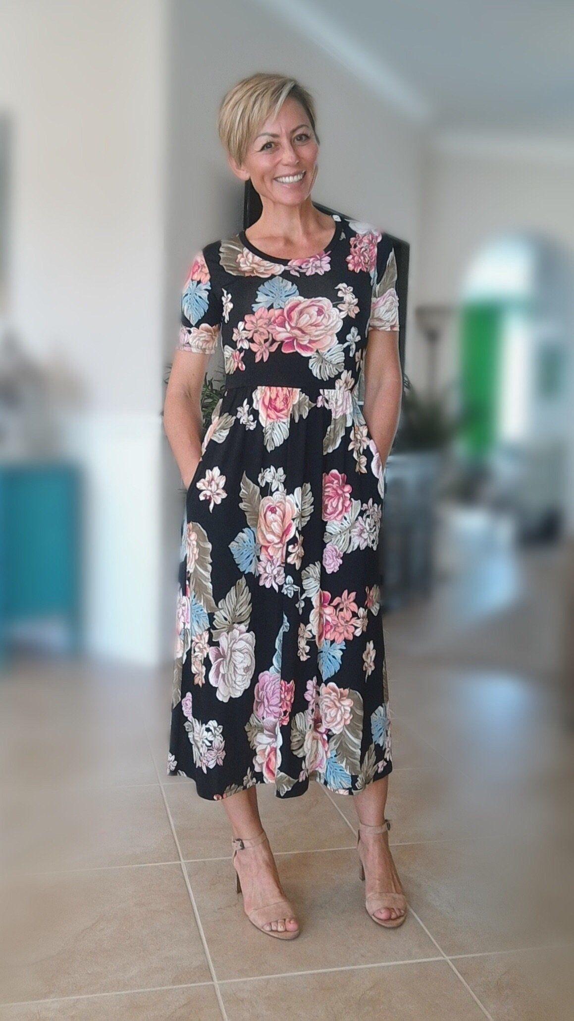 Nicole Asymmetrical Bell Sleeve Midi Dress : Black - GOZON
