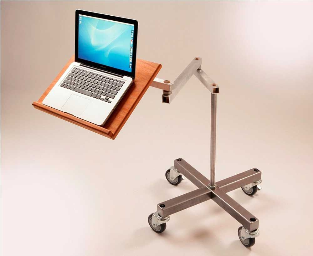 Impressive Standing Movable Laptop Desk Design With Cantilevered Swings  Away And Wheeled Legs For Awesome Home Office Design