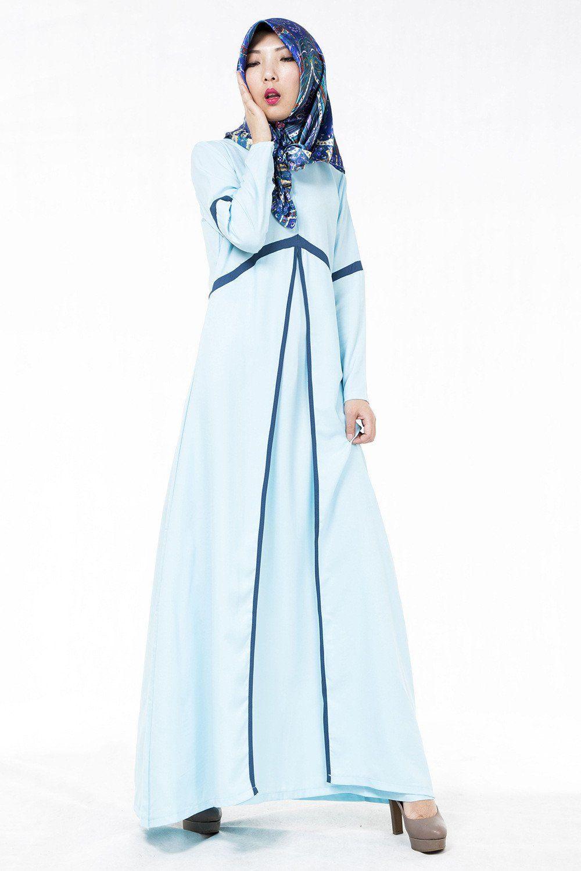 New latest muslim womens abaya dress oneck long sleeve floorlength
