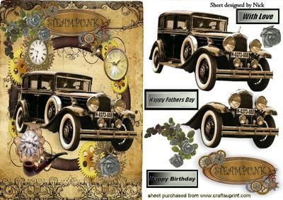 SILVER ROSES WITH VINTAGE CAR IN STEAMPUNK FRAME on Craftsuprint designed by Nick Bowley - SILVER ROSES WITH VINTAGE CAR IN STEAMPUNK FRAME, Also can be seen in lots of other colours and designs - Now available for download!