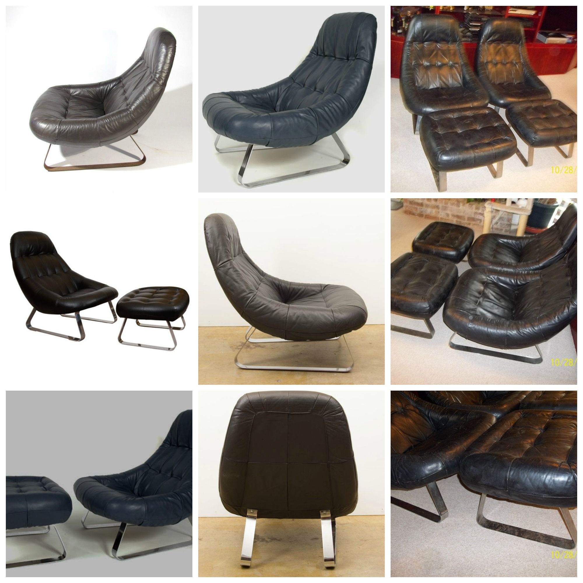 SOLD   Total $2425.00for Both Leather Earth Chair And Ottoman Sets] This  Early 70u0027s