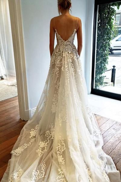 Y Deep V Neck Wedding Dress Lace Open Back Bridal Dresses Spaghetti Straps Gown Beach N74