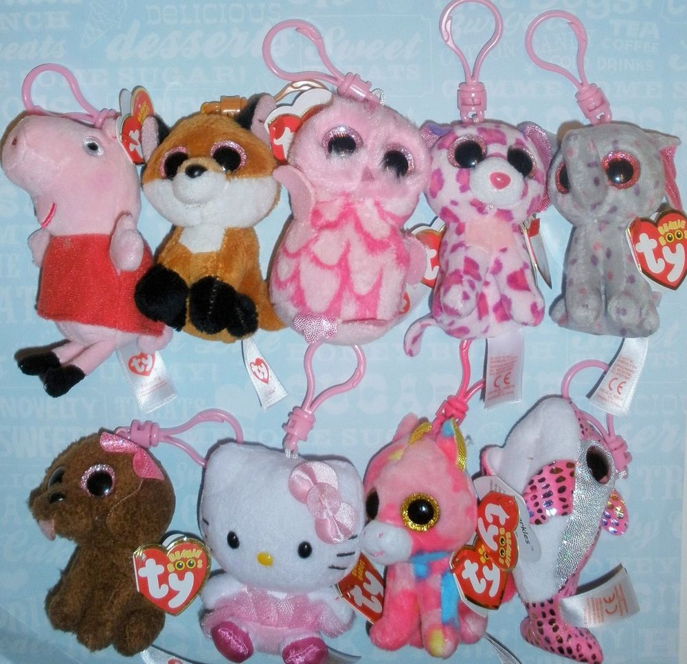 """TY Back Pack Clip Beanie Boos Peppa Pig Frozen YOU PICK Small 3"""" Plush Clip NEW #Ty"""