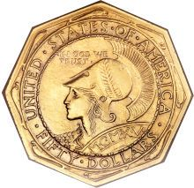 Original mintage of Panama-Pacific 50 dollar octagonal slugs was 1,509 pieces, but 864 examples were later melted, leaving a net distribution of just 645 coins. As the low mintage would suggest, the issue is rare in all grades today. Coins were designed  artist Robert Aitken. Obverse features a bust of Minerva, goddess of wisdom, who also appears on the California coat of arms. Reverse displays an owl, sacred to Minerva and dolphins encircling the design symbolize the opening of the Panama…