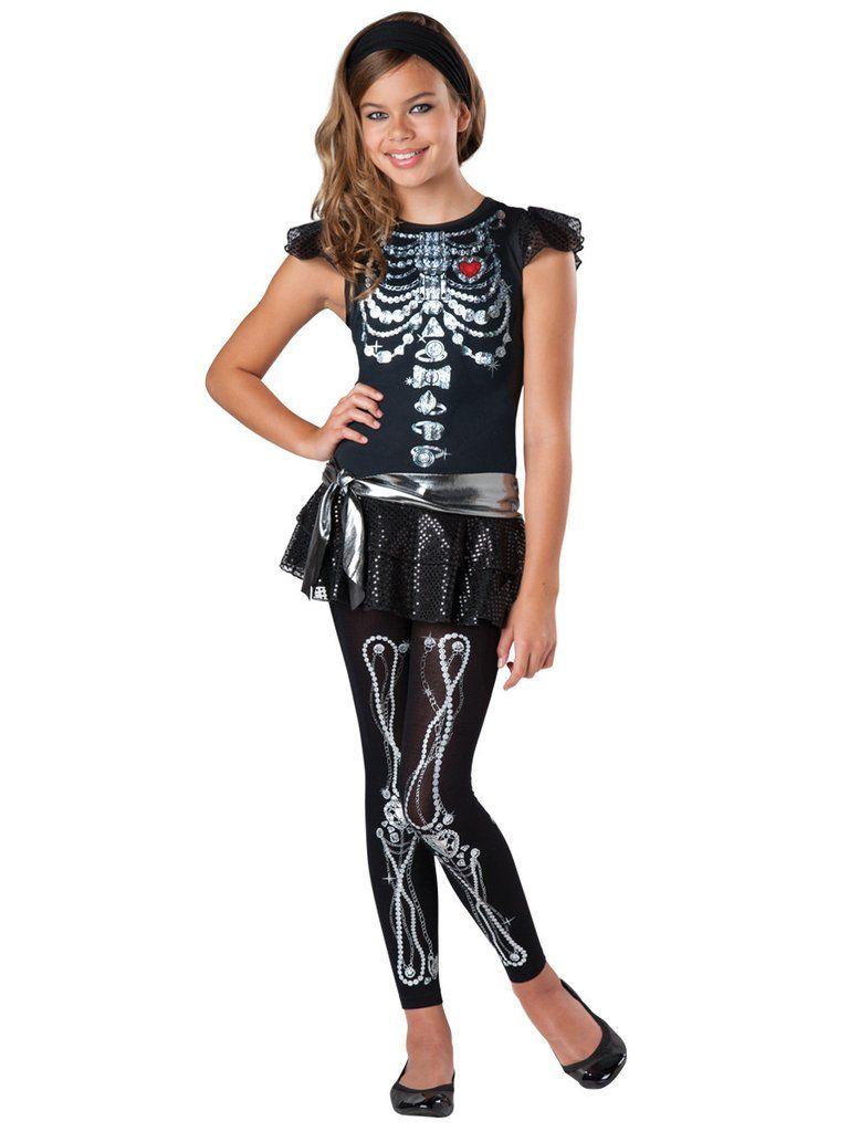 Skeleton Bling Tween Girls Costume Skeleton Skull Costumes