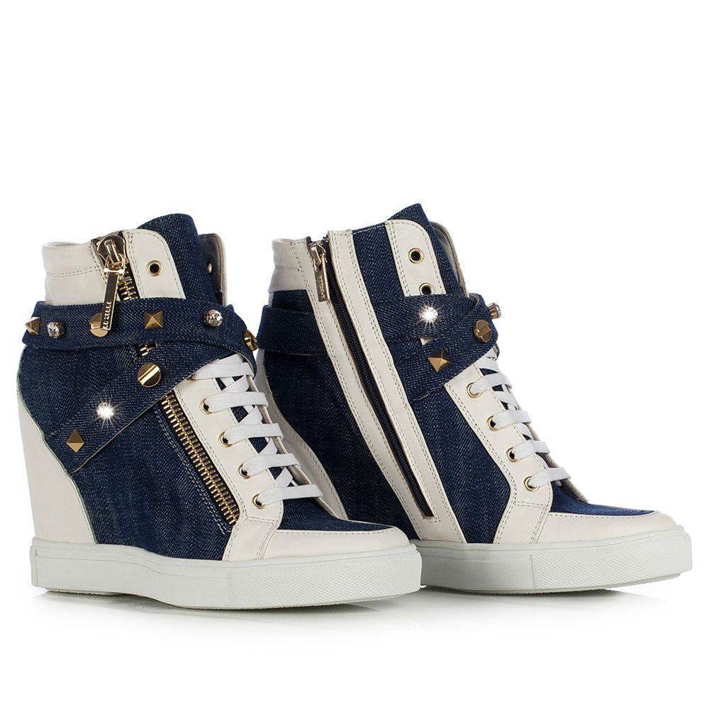 Wedge sneakers in Denim, blue jeans and white leather