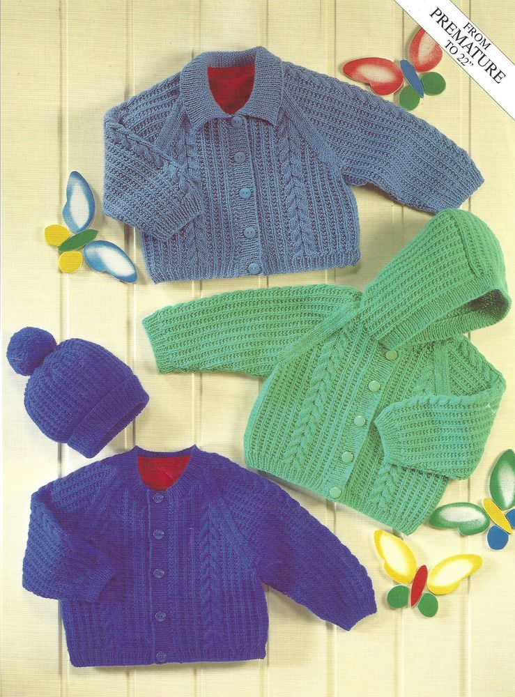 Premature baby or doll cardigans & hat knitting pattern 0 to 2 years ...