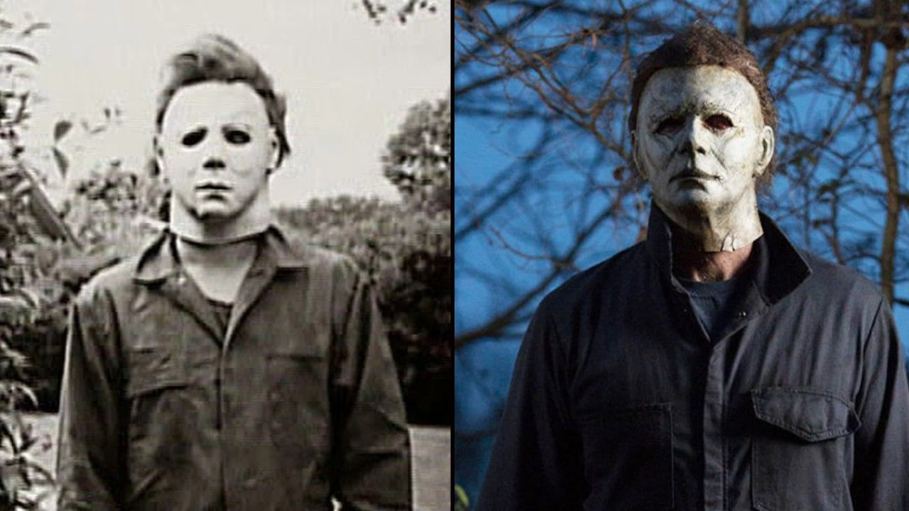 Michael Myers in 1978 and 2018 Halloween legends