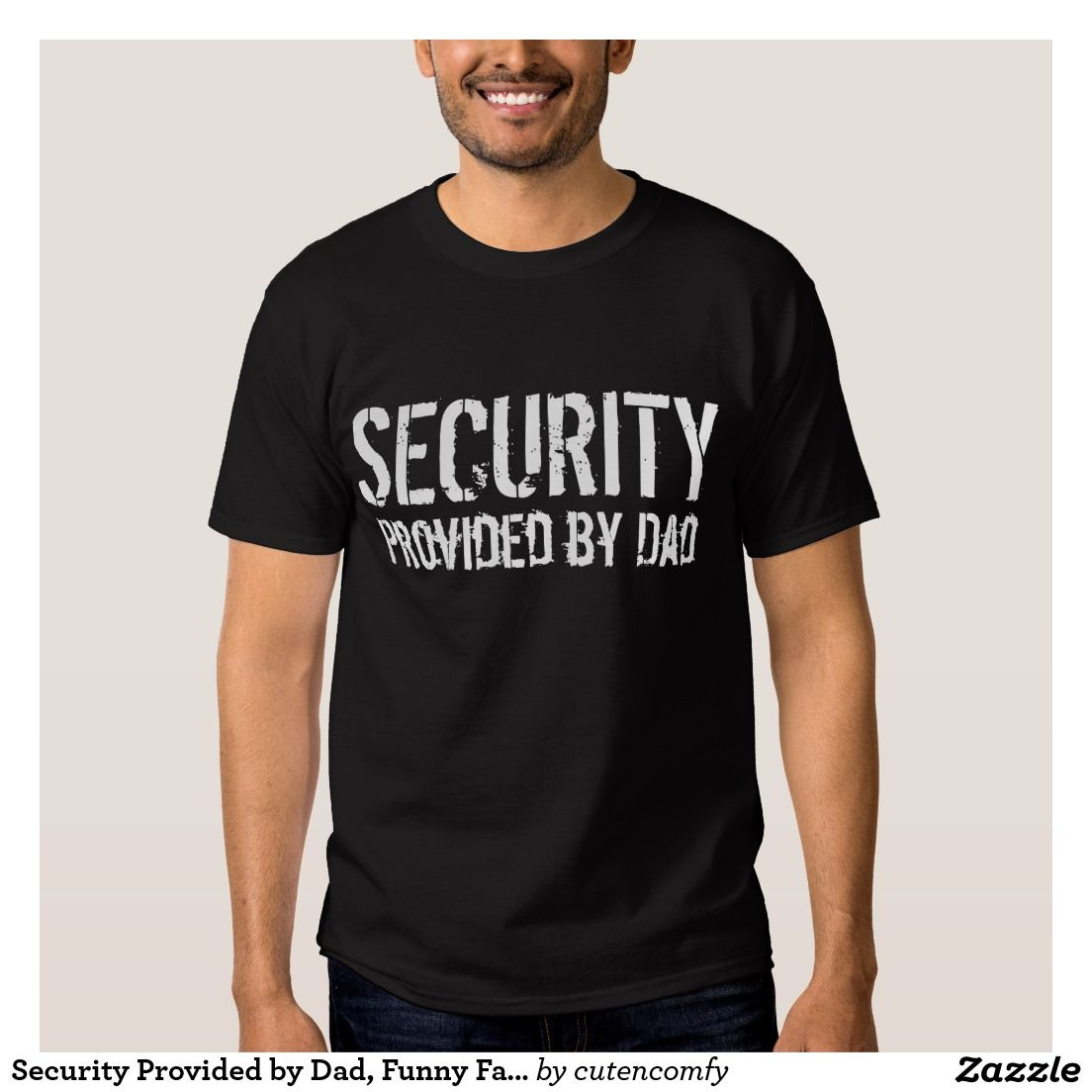 Black t shirt security - Security Provided By Dad Funny Father S Day Black T Shirt
