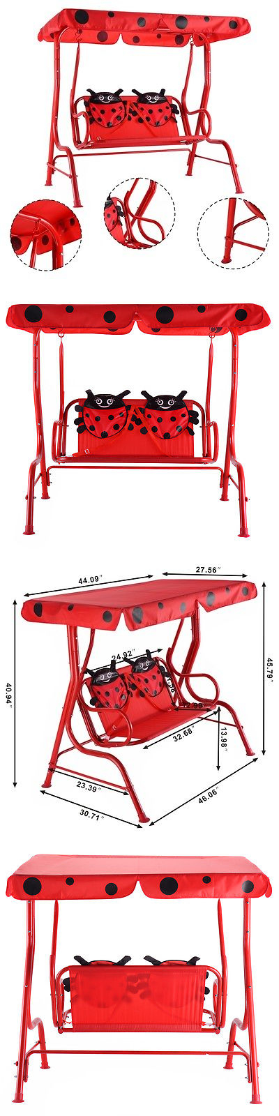 Swings Slides And Gyms 16515: Kids Patio Swing Chair Children Porch Bench  Canopy 2 Person