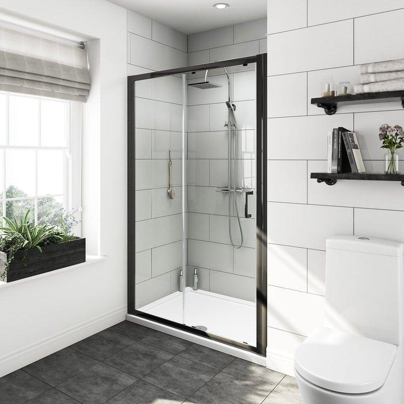 Mode Tate Black 6mm Sliding Shower Door 1200mm Shower Doors Black Shower Shower Enclosure