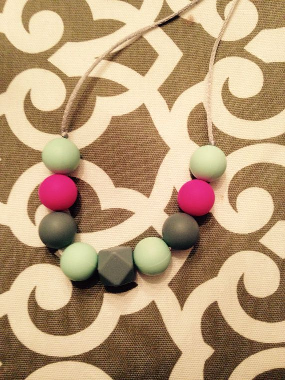 Silicone Chew Bead Necklace by LulaJackDesigns on Etsy