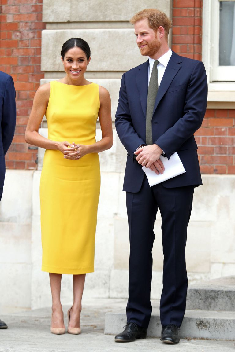 1f35b9d59 Meghan Markle Wears Ralph Lauren Dress to Prince Louis' Christening - Meghan  Markle Olive Green Ralph Lauren Dress Prince Louis Christening