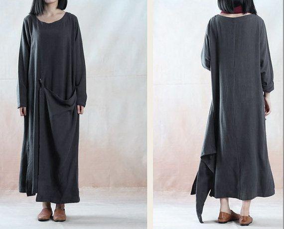 online store b003c 3a0ea Plus Größe Leinenkleid Flachs Kleid lange Kleid Maxi von ...