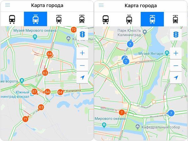 Видно все машины на рейсе: автобусы и маршрутки