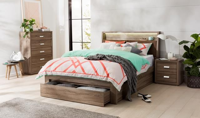 Addison Bookend Bed Frame W Drawers Mocha Oak Bedroom Furniture Forty Winks