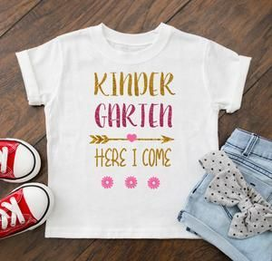 First Day Of School Shirt Girl's Kindergarten Here I Come Outfit - Personalize Name and Grade !!