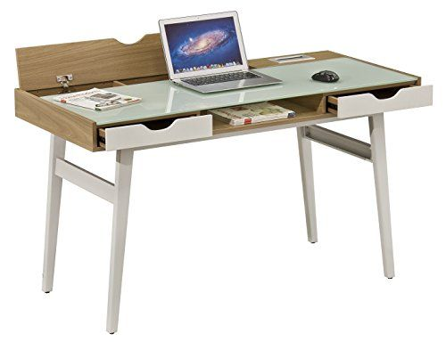 Brassex Ct 3552 Office Desk With Tempered Glass Top Brown Best Home Office Desk Desk Office Desk