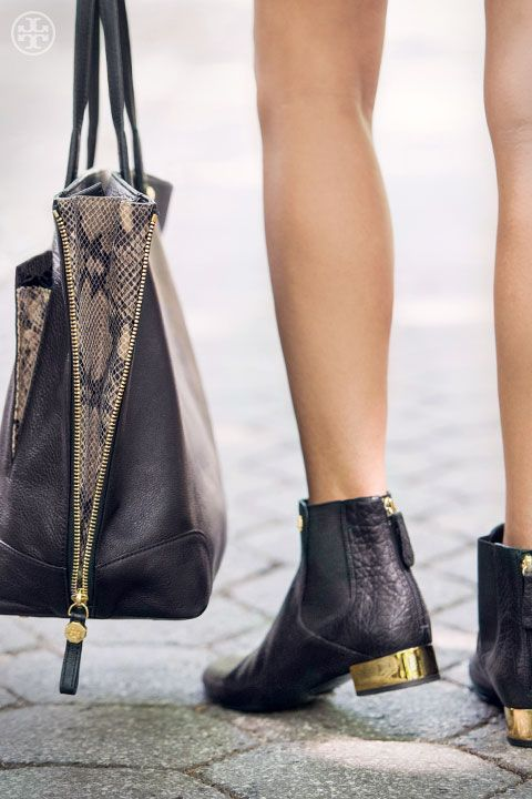 2b6cdd7cafe8d5 Play up a handbag s hardware with a gold-block heel (Tory Burch Adaire   Bootie   Clay Tote)