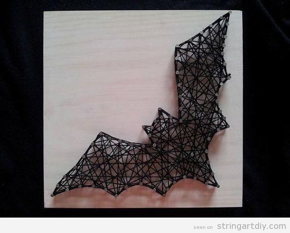 bat string art diy halloween decoration