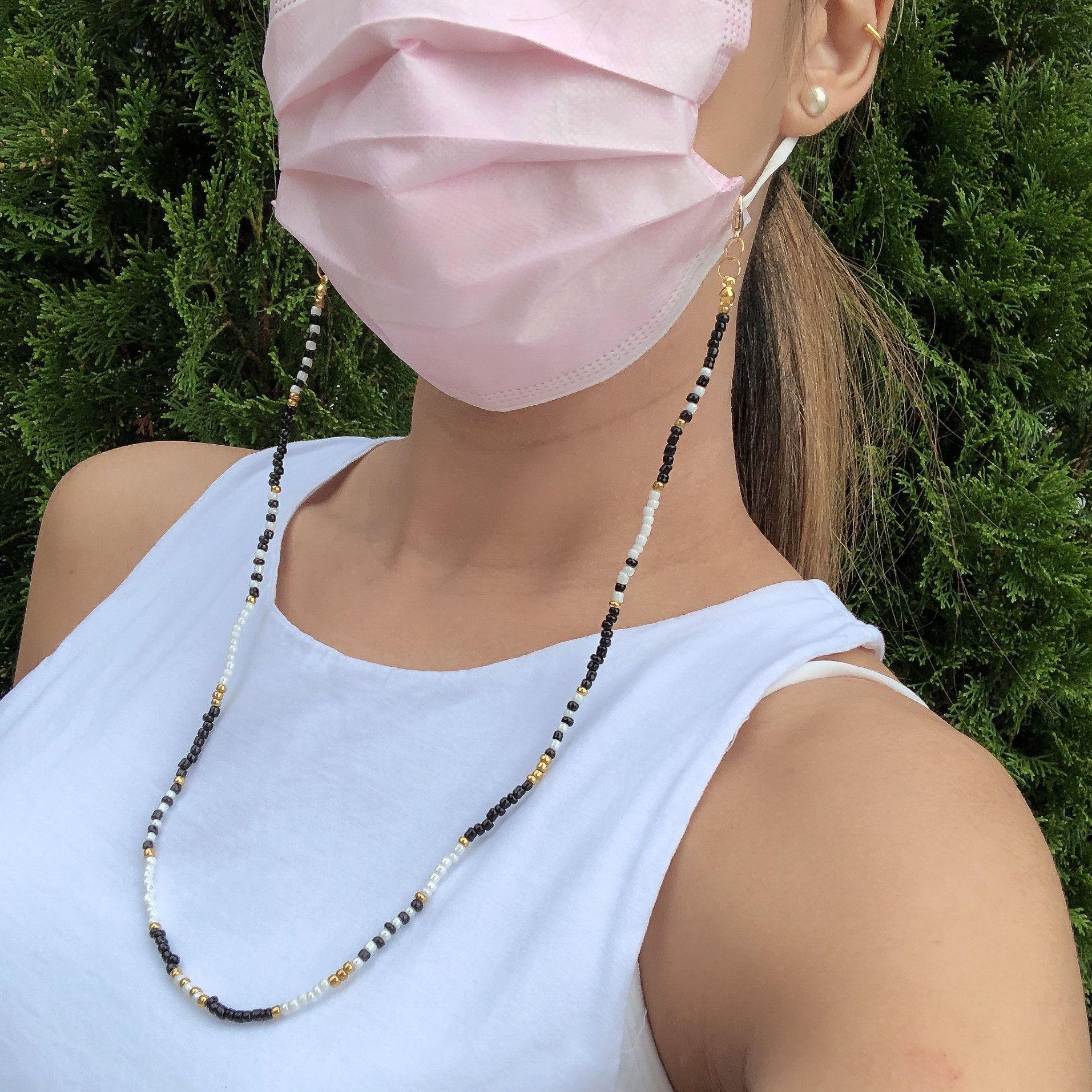 Beaded Mask Lanyard Beaded Mask Chain Holder CUSTOM Mask Chain Beaded Face Mask Chain