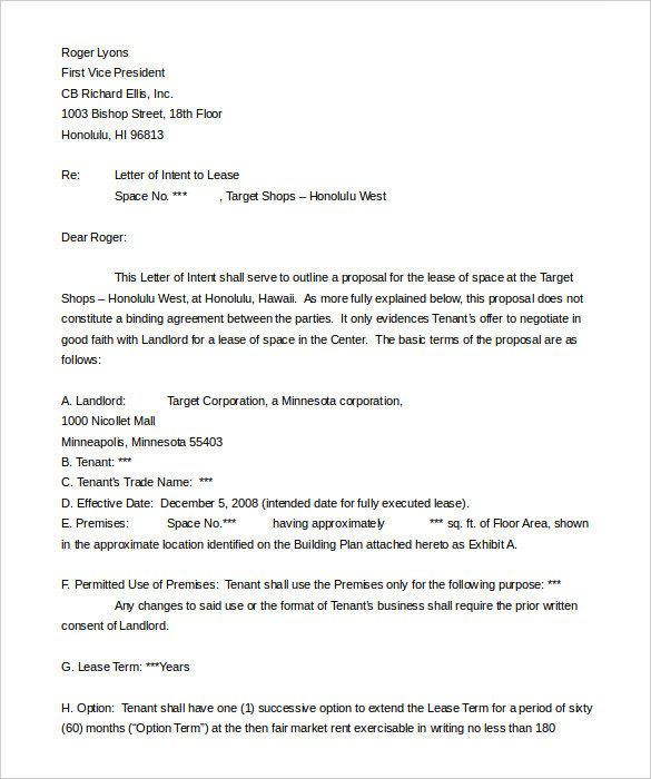 Letter Of Intent To Lease Template  Download    Proposal